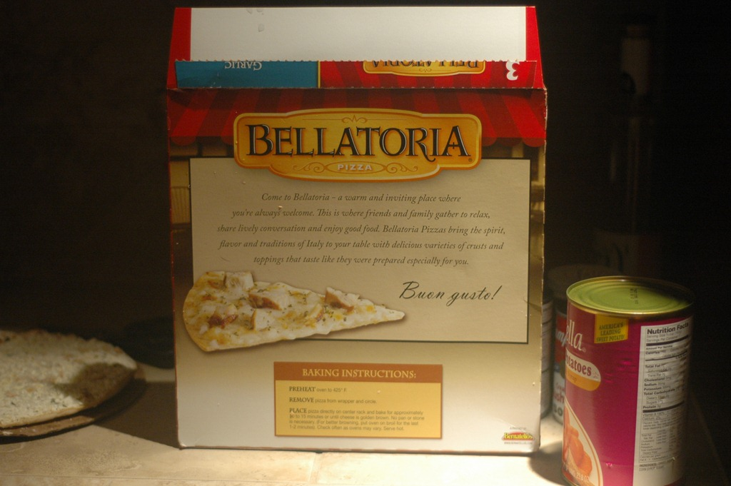Costco Cuisine Bellatoria Ultra Thin Crust Garlic Chicken Alfredo Frozen Pizza Fly Rice